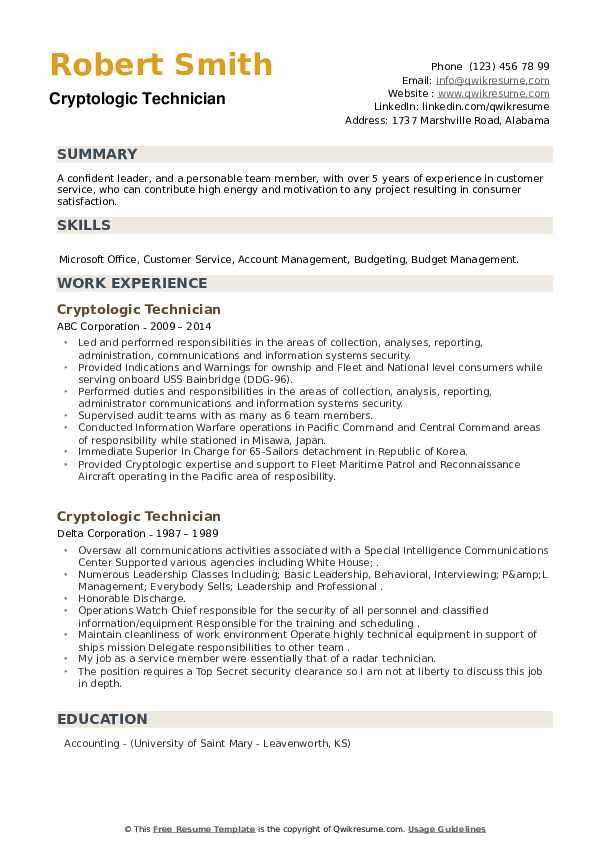 Cryptologic Technician Resume example