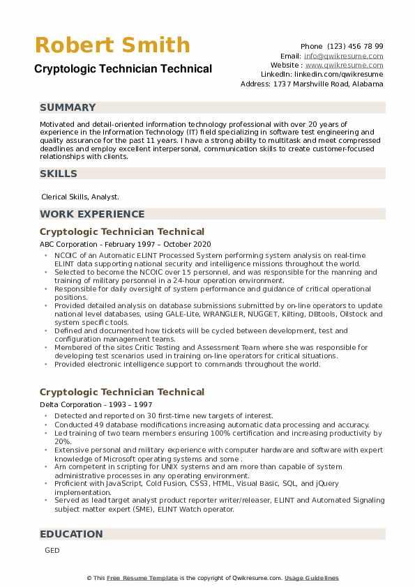 Cryptologic Technician Technical Resume example