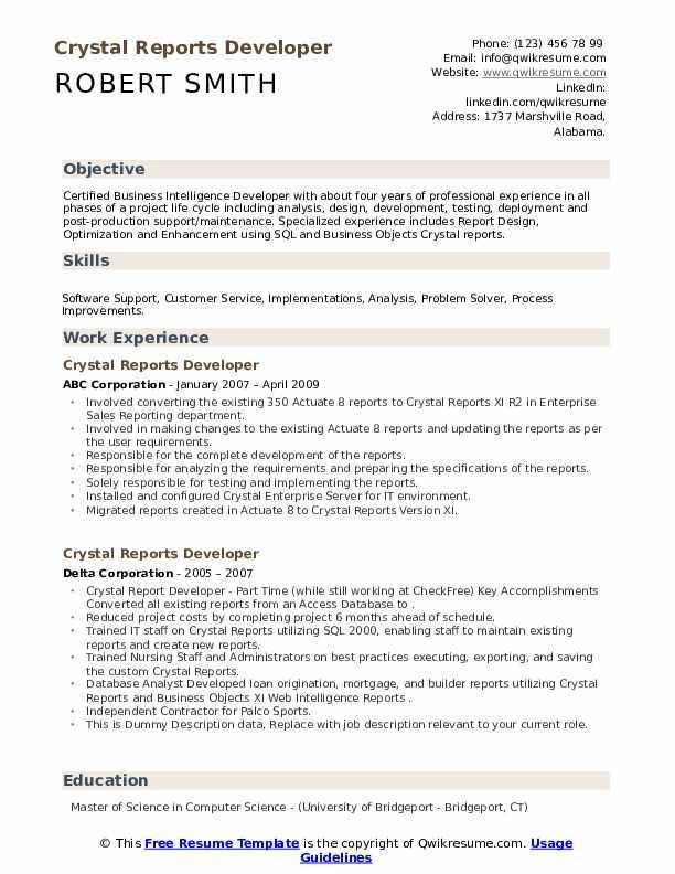 programmer crystal reports 10 california resume