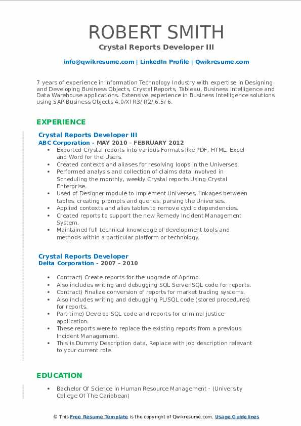 Programmer crystal reports 10 california resume research paper on abortion