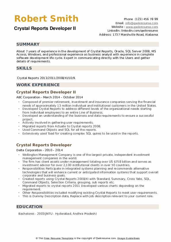 Crystal Reports Developer Resume example