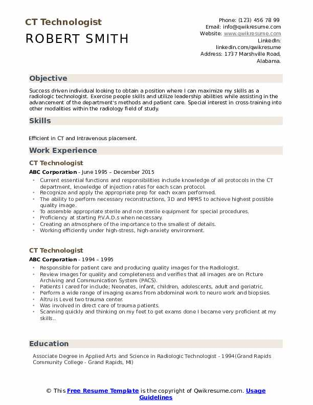 Ct Technologist Resume Samples Qwikresume