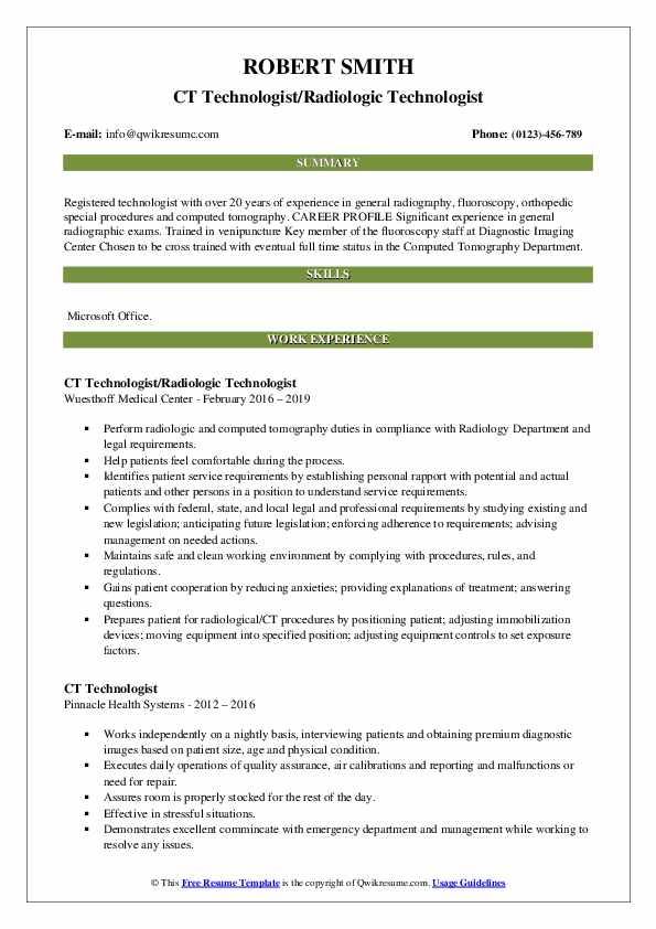 CT Technologist/Radiologic Technologist Resume Template