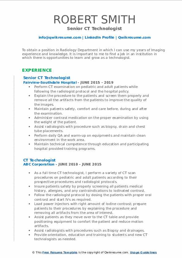 Senior CT Technologist Resume Format