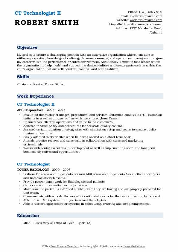 CT Technologist II Resume Template