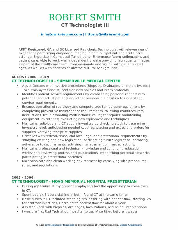 CT Technologist III Resume Template