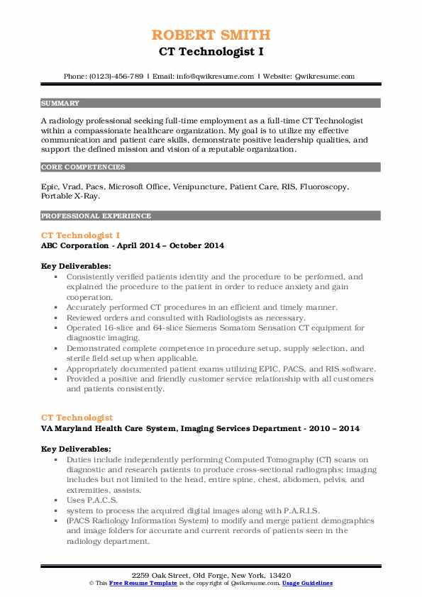 CT Technologist I Resume Template