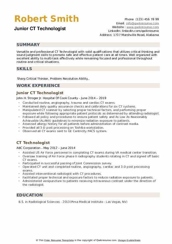 Junior CT Technologist Resume Sample