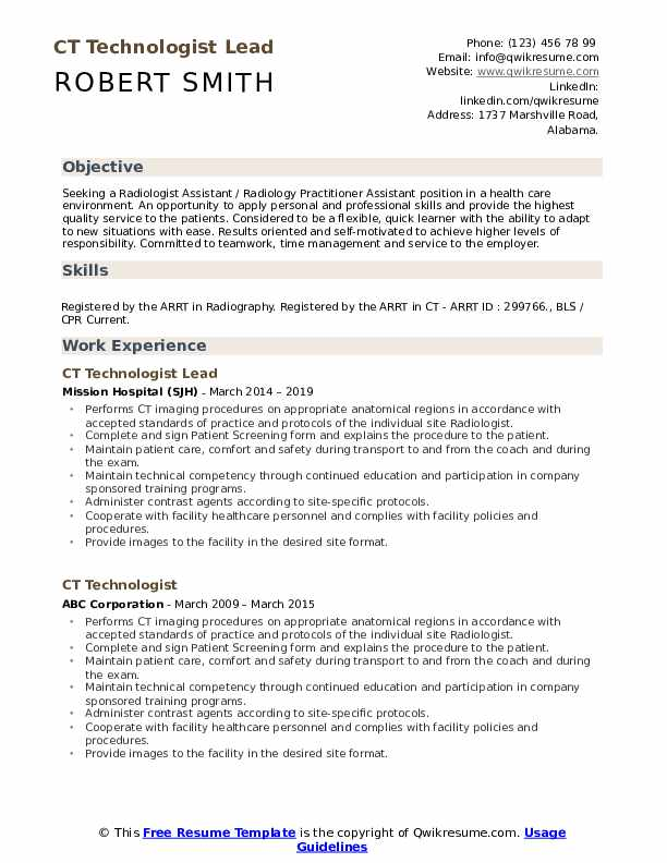 CT Technologist Lead Resume Model