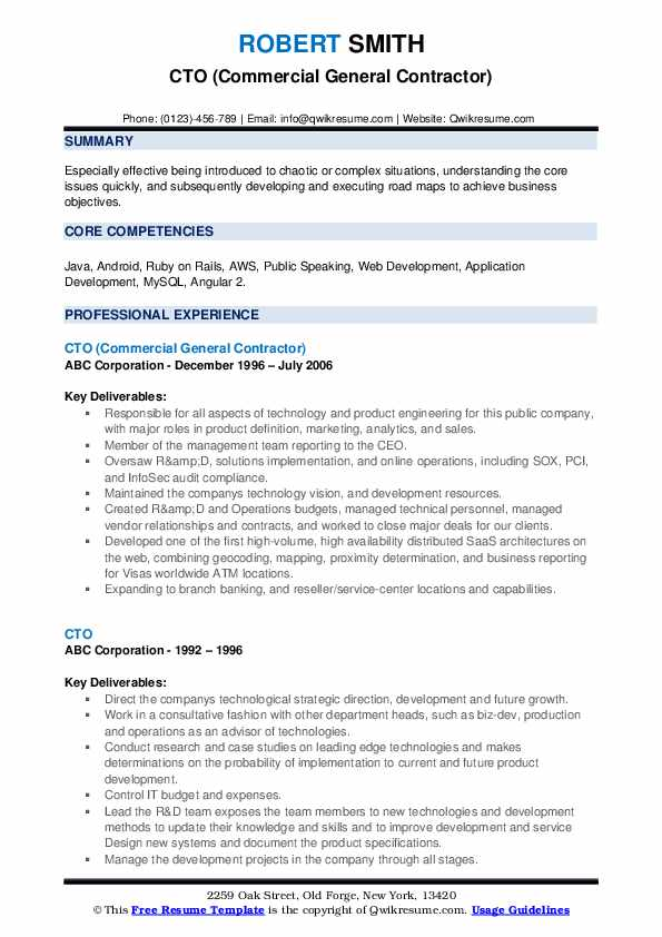 CTO (Commercial General Contractor) Resume Sample