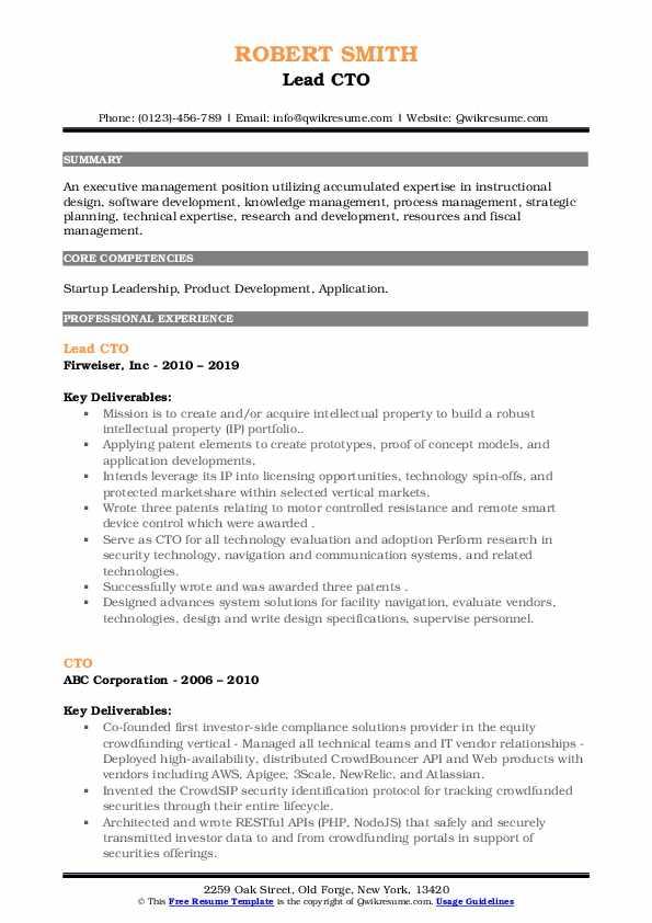 Lead CTO Resume Sample