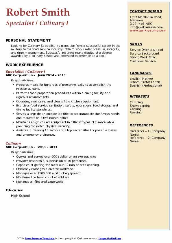 culinary resume samples  qwikresume