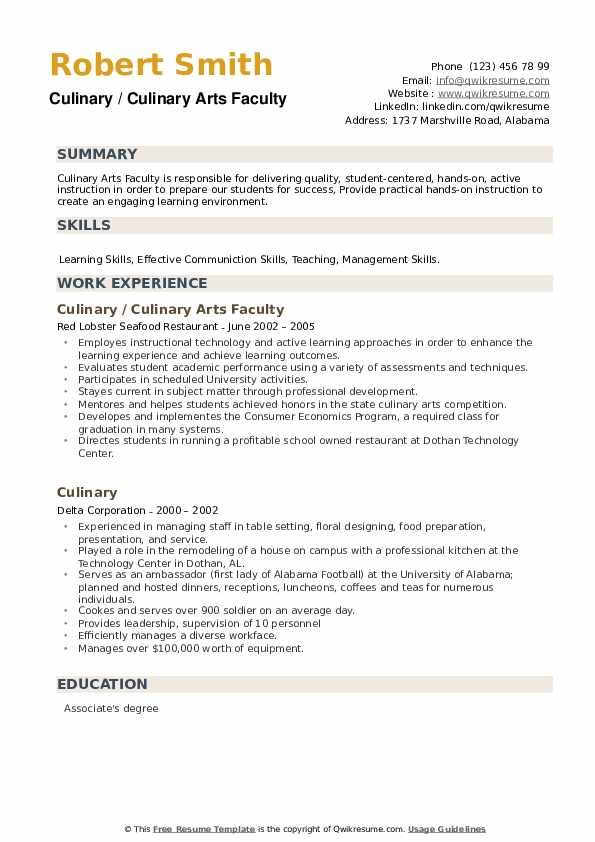 Culinary Resume example