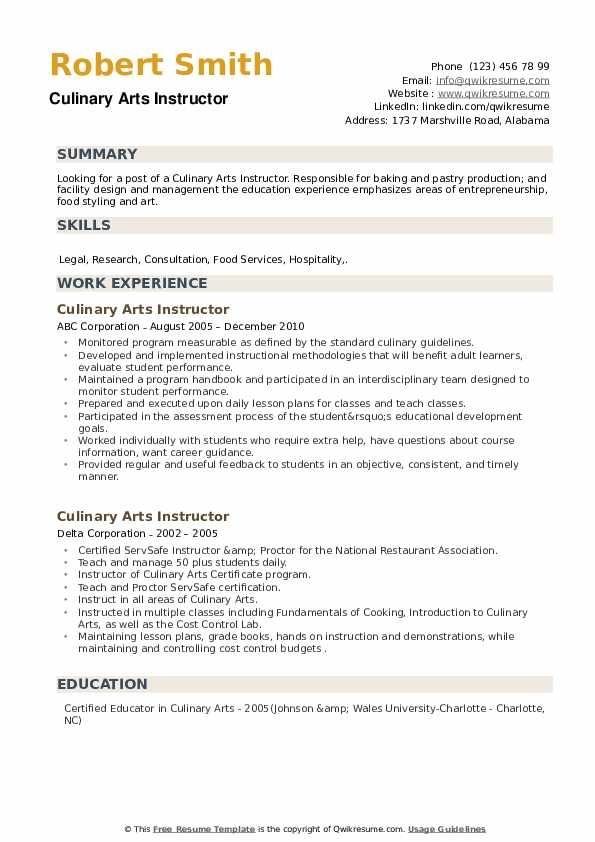Culinary Arts Instructor Resume example