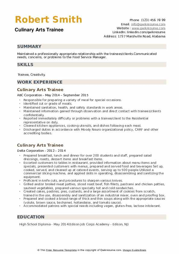 Culinary Arts Trainee Resume example