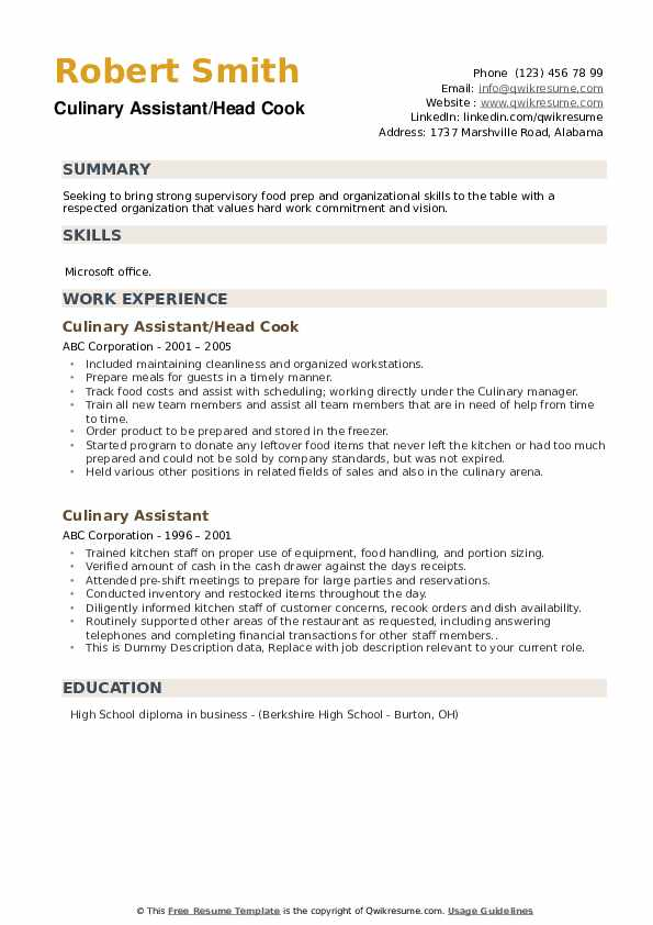 Culinary Assistant Resume example