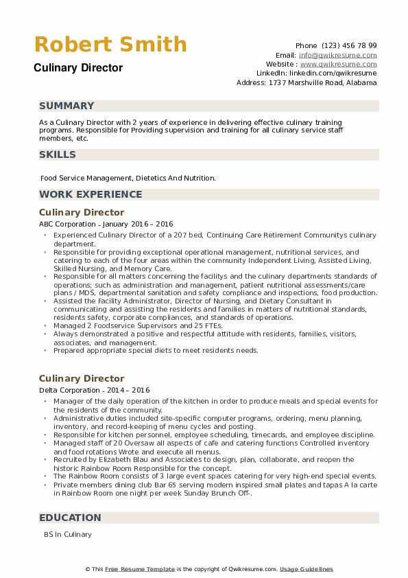 Culinary Director Resume example