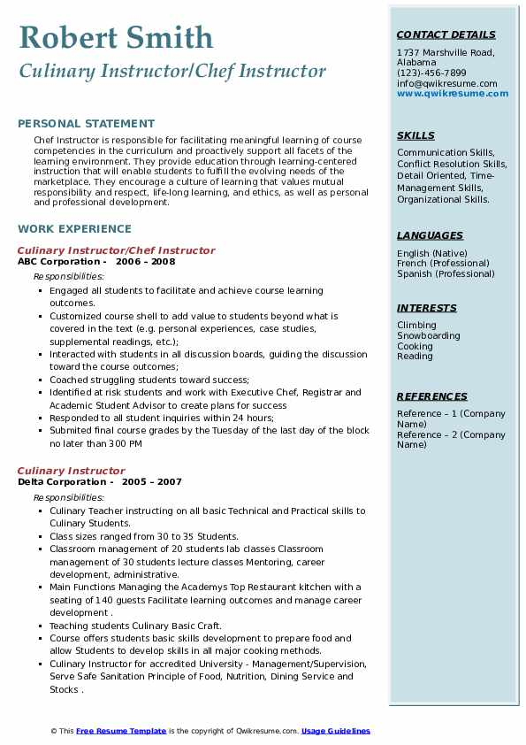 culinary instructor resume samples  qwikresume