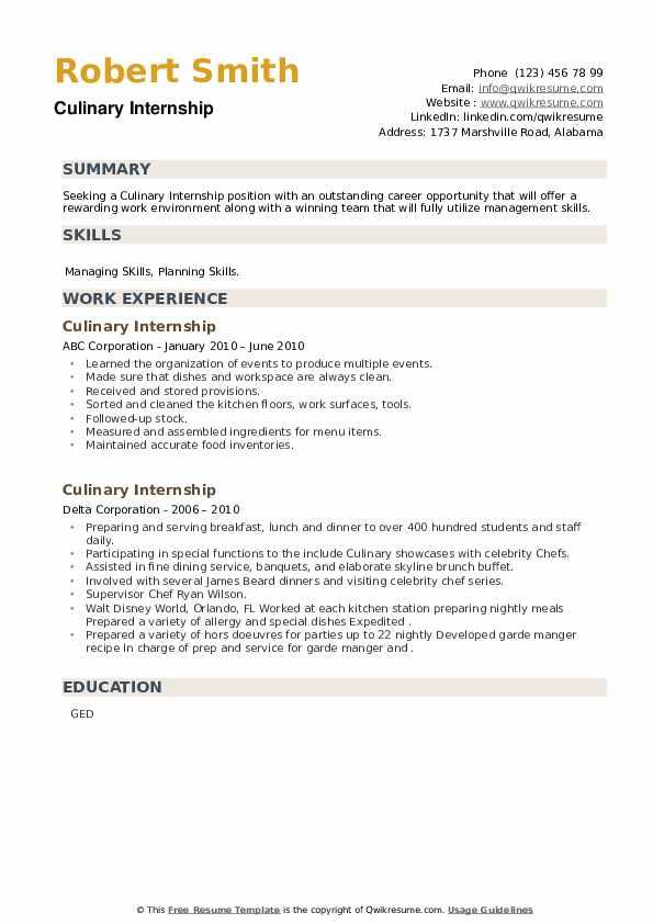 Culinary Internship Resume example