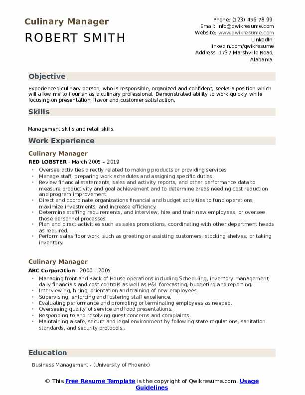 Culinary Manager Resume Model