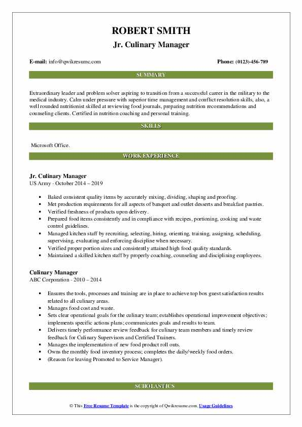 Jr. Culinary Manager Resume Format