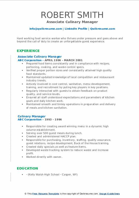 Associate Culinary Manager Resume Example