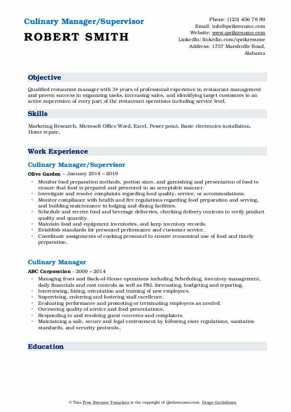 Culinary Manager/Supervisor Resume Format