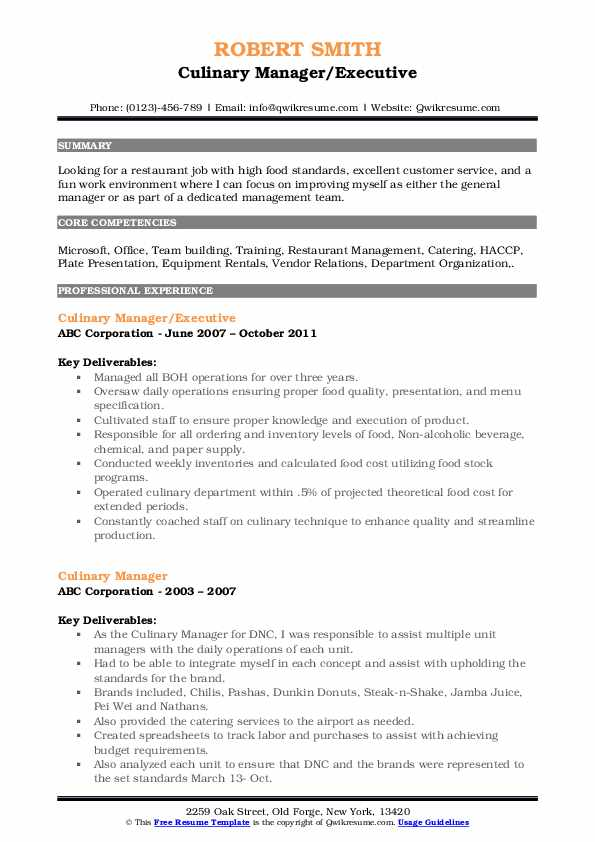 Culinary Manager/Executive Resume Example