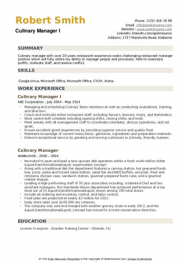 Culinary Manager I Resume Template