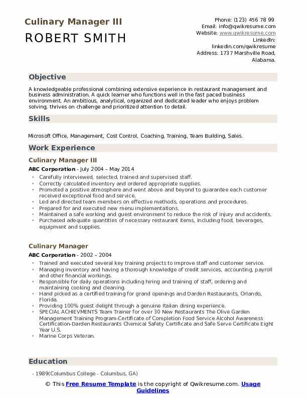 Culinary Manager III Resume Sample