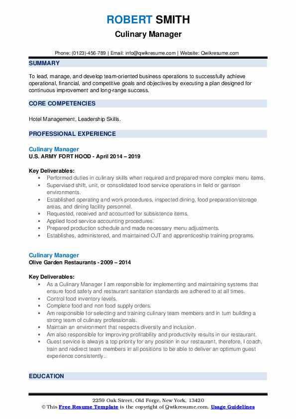 Culinary Manager Resume example