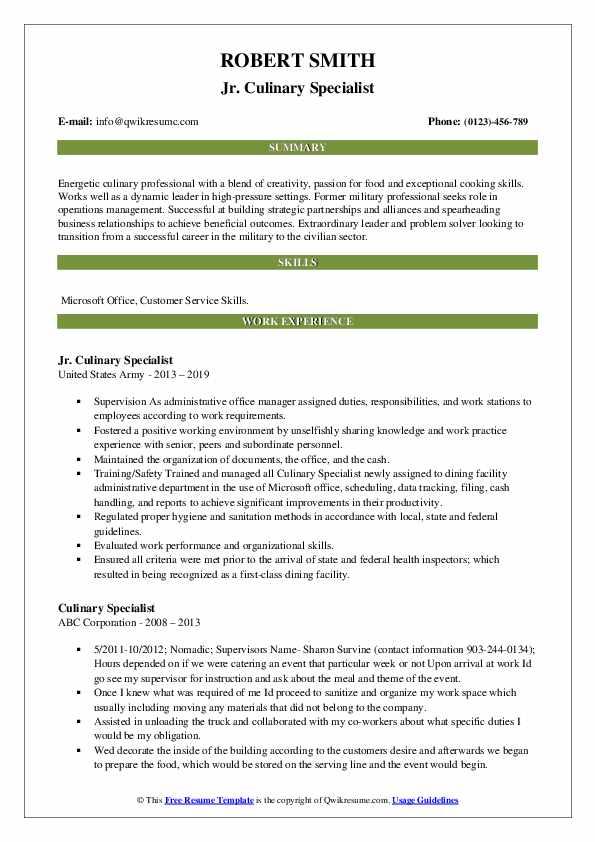 Jr. Culinary Specialist Resume Sample
