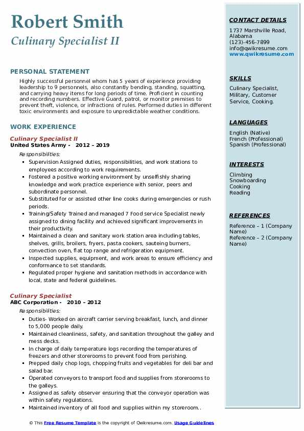 Culinary Specialist II Resume Example