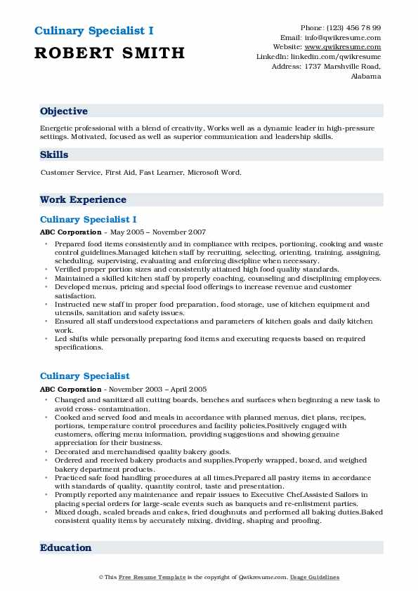 Culinary Specialist I Resume Template