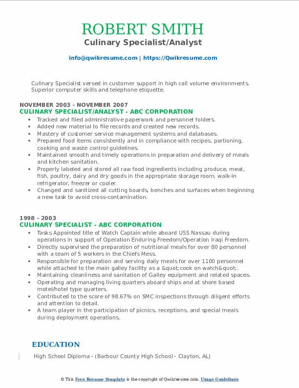 Culinary Specialist/Analyst Resume Model