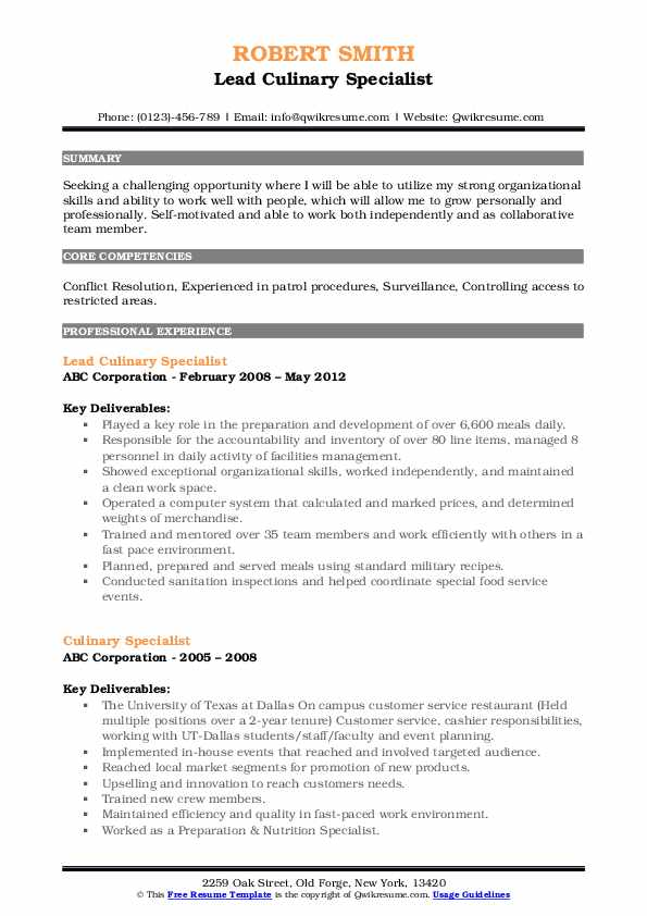 Lead Culinary Specialist Resume Sample