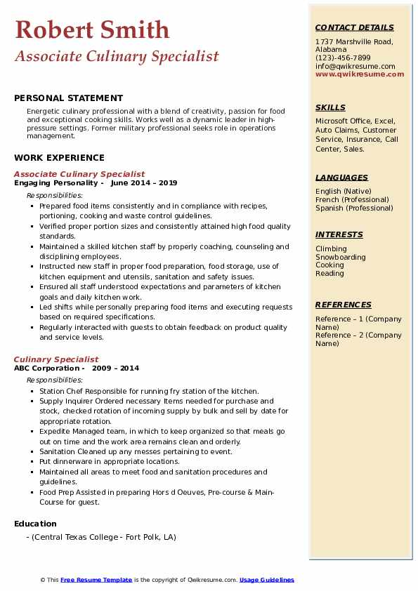 Associate Culinary Specialist Resume Example