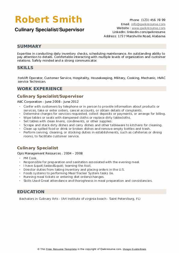 Culinary Specialist/Supervisor Resume Format