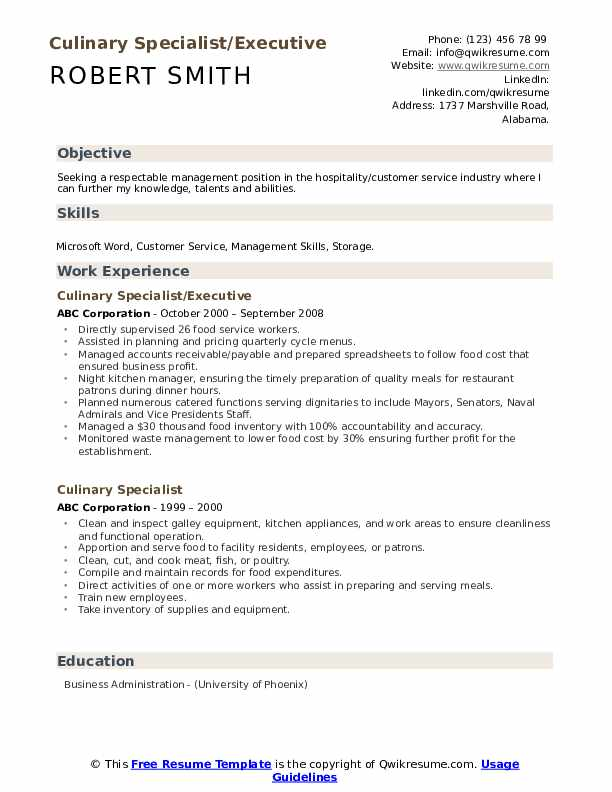 Culinary Specialist/Executive Resume Model