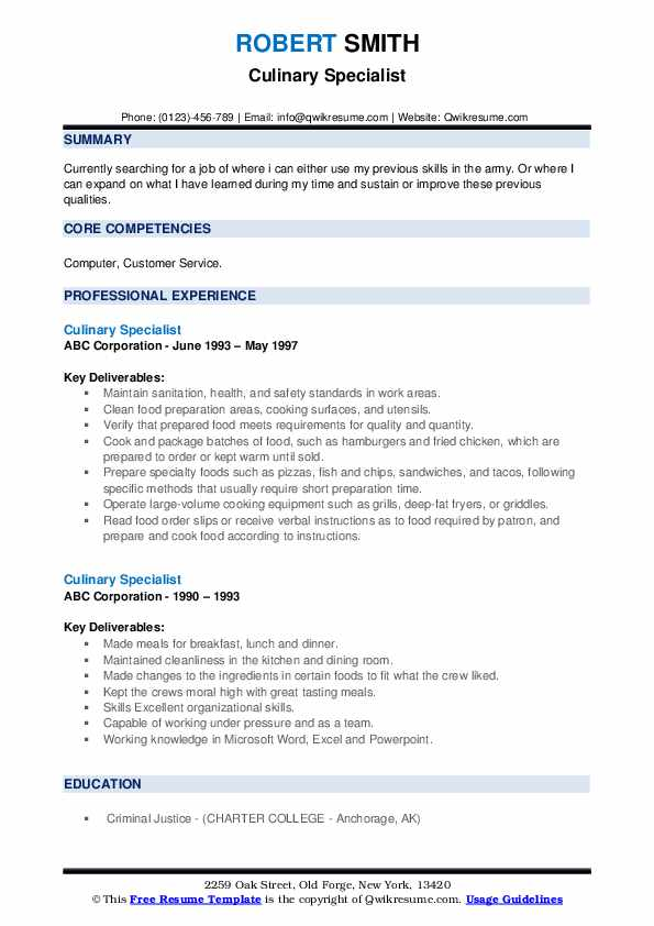 Culinary Specialist Resume example