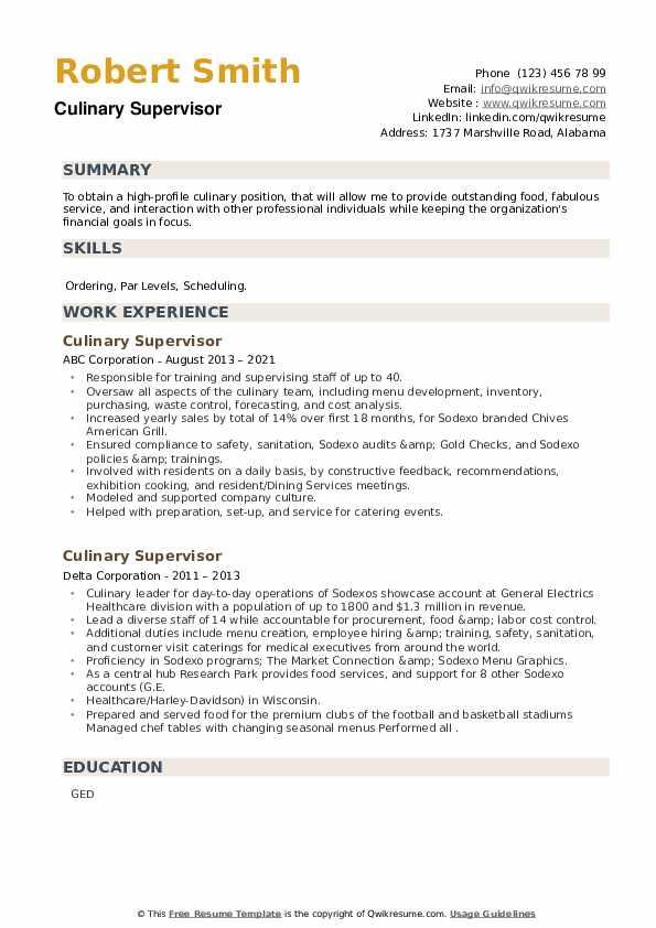Culinary Supervisor Resume example