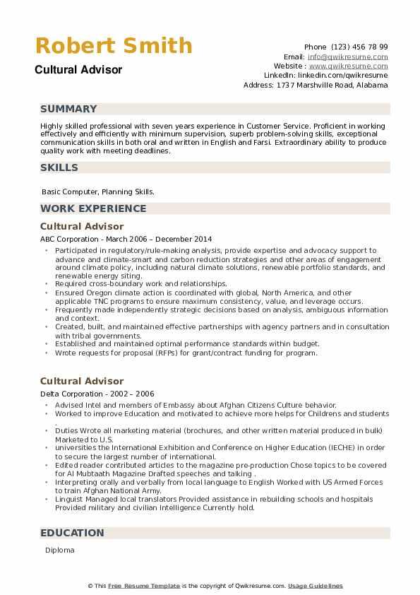 Cultural Advisor Resume example