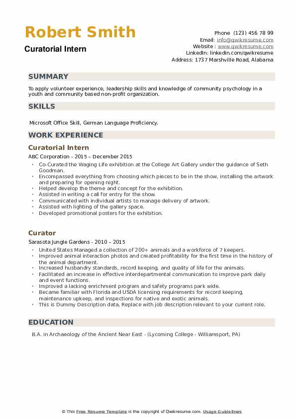 Curator Resume example