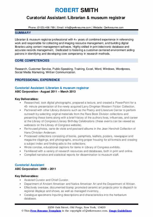 Curatorial assistant resume example win a house essay contests