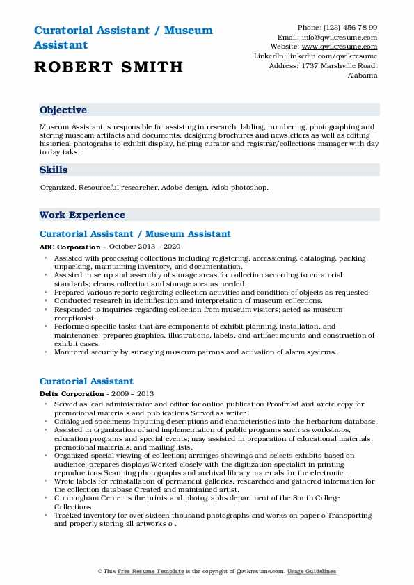 Curatorial assistant resume example expert assignment writers