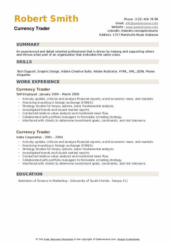 Currency Trader Resume example