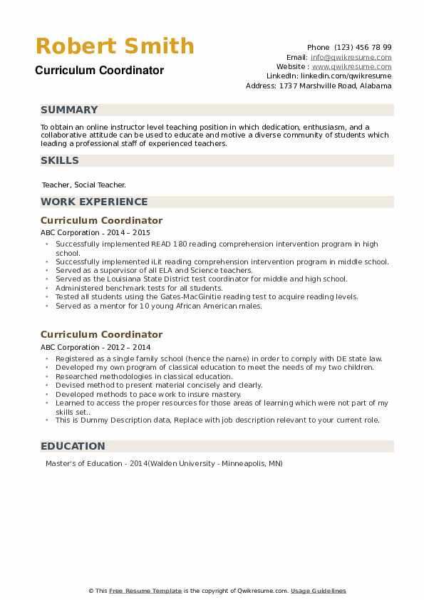 Curriculum Coordinator Resume example