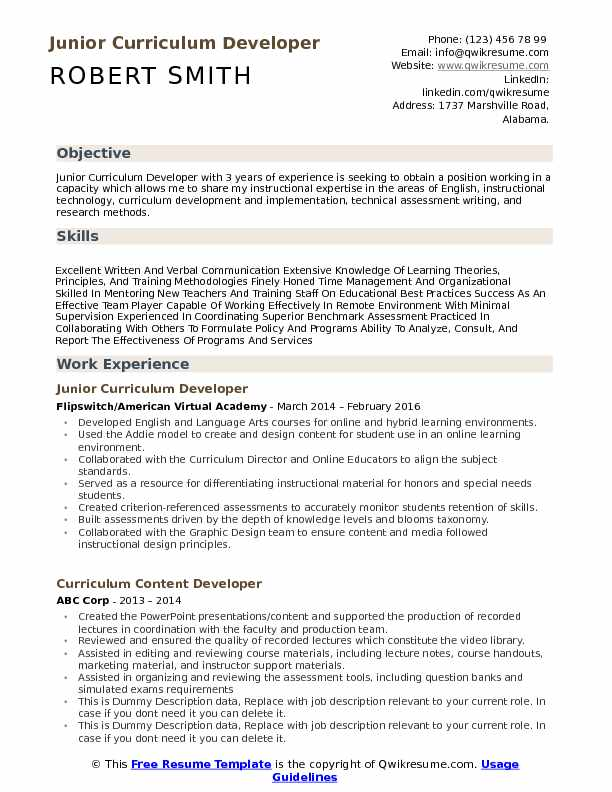 Junior Curriculum Developer Resume Template