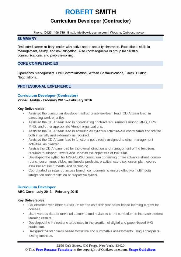 Curriculum Developer (Contractor) Resume Format