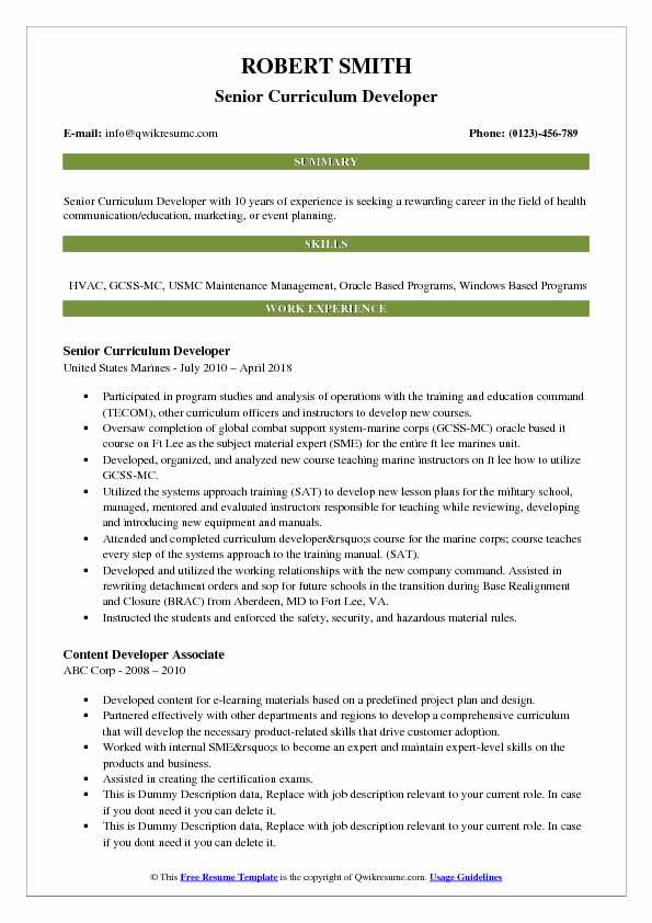 Senior Curriculum Developer Resume Sample